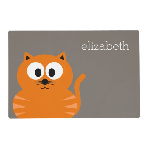 Cute Orange Fat Cat with Taupe Personalized Placemat