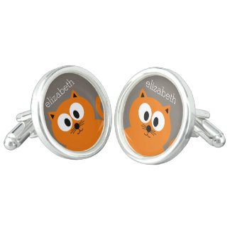 Cute Orange Fat Cat with Taupe Personalized Cufflinks