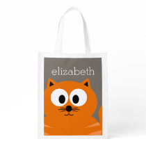Cute Orange Fat Cat with Taupe Personalized Reusable Grocery Bag