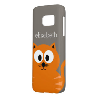 Cute Orange Fat Cat with Taupe Personalized Samsung Galaxy S7 Case