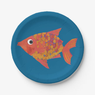 Cute Orange Fish on Blue Custom Paper Plate