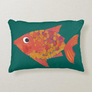 Cute Orange Fish on Teal Custom Accent Pillow