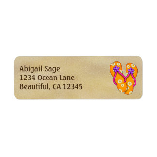 Cute Orange Flip Flops on Sand Beach Address Label
