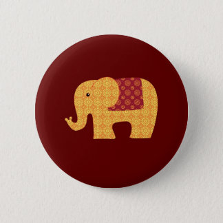 Cute Orange Flower Elephant on Red Pinback Button