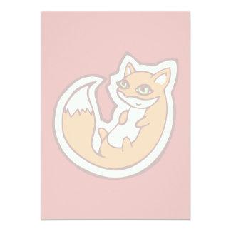 Cute Orange Fox White Belly Drawing Design Card