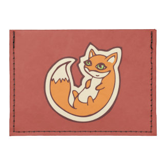 Cute Orange Fox White Belly Drawing Design Card Wallet