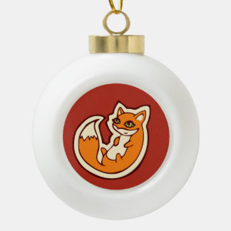 Cute Orange Fox White Belly Drawing Design Ceramic Ball Christmas Ornament