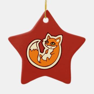 Cute Orange Fox White Belly Drawing Design Ceramic Ornament
