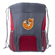 Cute Orange Fox White Belly Drawing Design Drawstring Backpack