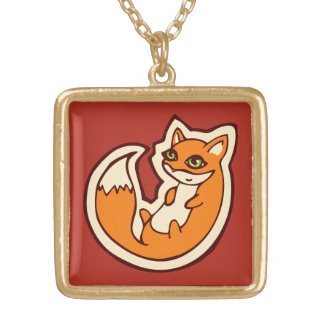 Cute Orange Fox White Belly Drawing Design Gold Plated Necklace