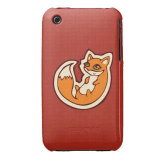 Cute Orange Fox White Belly Drawing Design iPhone 3 Cover