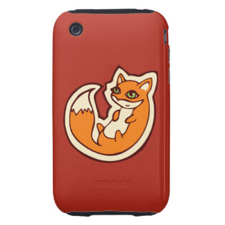 Cute Orange Fox White Belly Drawing Design iPhone 3 Tough Covers