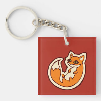 Cute Orange Fox White Belly Drawing Design Keychain