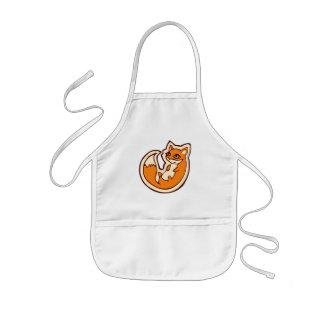 Cute Orange Fox White Belly Drawing Design Kids' Apron