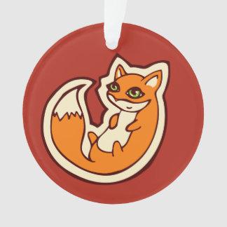 Cute Orange Fox White Belly Drawing Design Ornament