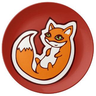 Cute Orange Fox White Belly Drawing Design Porcelain Plate