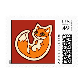 Cute Orange Fox White Belly Drawing Design Postage