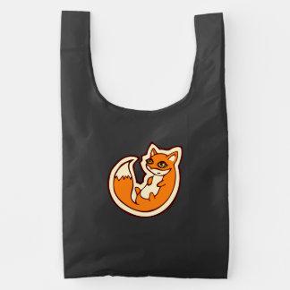 Cute Orange Fox White Belly Drawing Design Reusable Bag