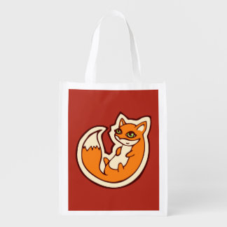 Cute Orange Fox White Belly Drawing Design Reusable Grocery Bag