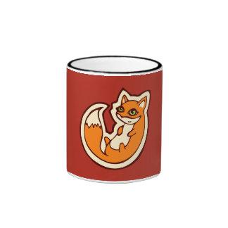 Cute Orange Fox White Belly Drawing Design Ringer Mug