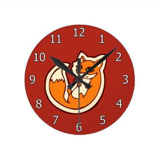 Cute Orange Fox White Belly Drawing Design Round Clock