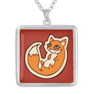 Cute Orange Fox White Belly Drawing Design Silver Plated Necklace