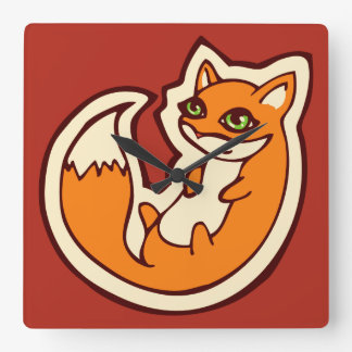 Cute Orange Fox White Belly Drawing Design Square Wall Clock