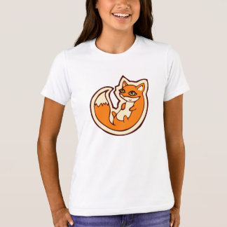 Cute Orange Fox White Belly Drawing Design T-Shirt