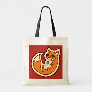 Cute Orange Fox White Belly Drawing Design Tote Bag