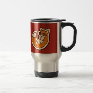 Cute Orange Fox White Belly Drawing Design Travel Mug
