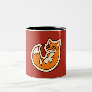 Cute Orange Fox White Belly Drawing Design Two-Tone Coffee Mug