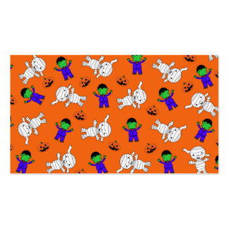 Cute orange Frankenstein mummy pumpkins Double-Sided Standard Business Cards (Pack Of 100)