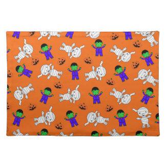 Cute orange Frankenstein mummy pumpkins Placemats