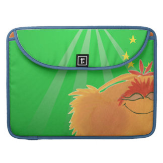 Cute Orange Furry Monster on Green Sleeve For MacBooks