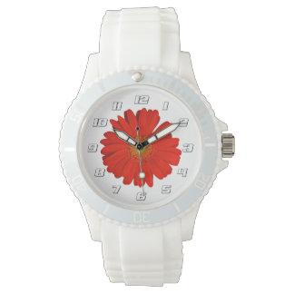 Cute Orange Gerbera Flowers with numbers Wrist Watch