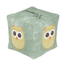 Cute Orange Green Yellow Owl Child's Pouf