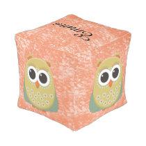 Cute Orange Green Yellow Owl Personalized Pouf