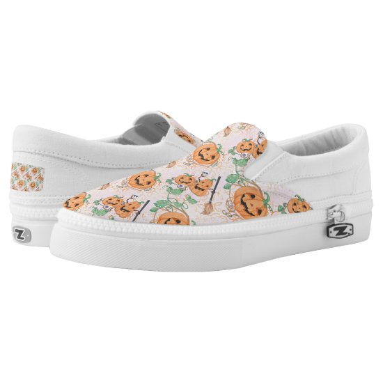 Cute Orange Halloween Pattern Slip-On Sneakers