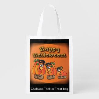 Cute Orange Halloween Pumpkins Guys Reusable Grocery Bag