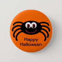 Cute Orange Halloween Spider Button