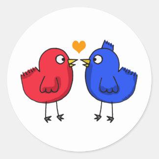 cute orange heart love birds classic round sticker