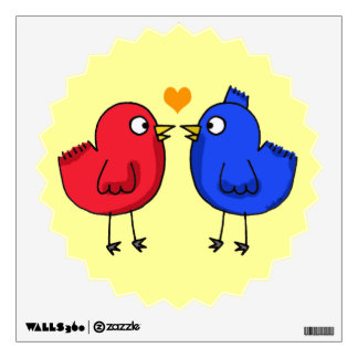 cute orange heart love birds wall sticker