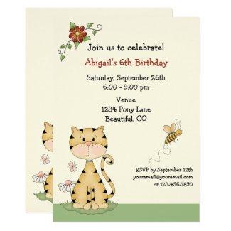 Cute Orange Kitty Cat and Flowers Birthday Invitation