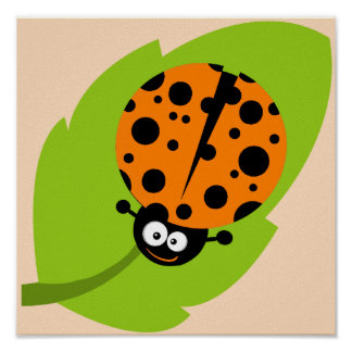 Cute Orange Ladybug Poster