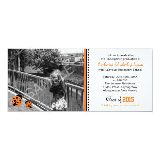 Cute Orange Ladybugs Graduation Party Invitation