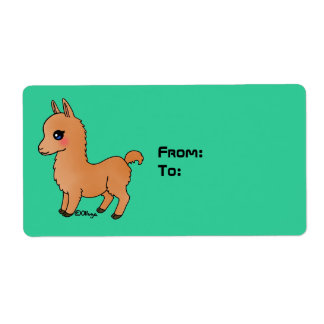 Cute Orange Llama Label