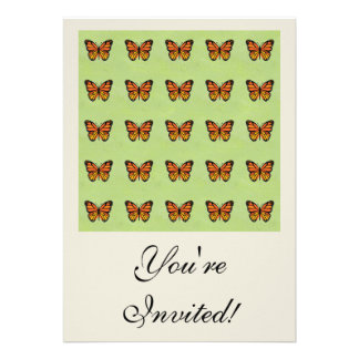 Cute Orange Monarch Butterfly Background Pattern Personalized Invitations