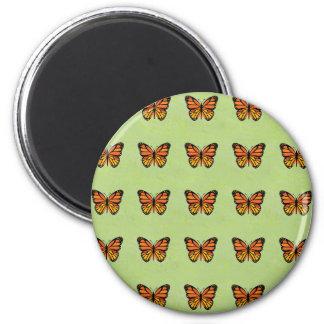 Cute Orange Monarch Butterfly Background Pattern Magnet