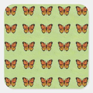 Cute Orange Monarch Butterfly Background Pattern Sticker