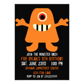 Cute Orange Monster Birthday Party Invitations